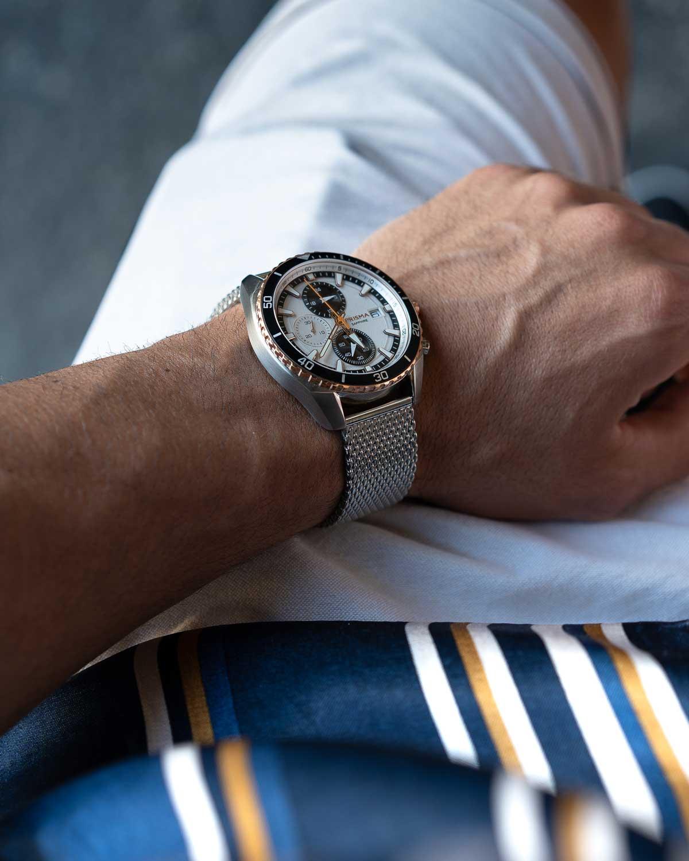 foto master chronograaf rose gold rosé goud heren horloge