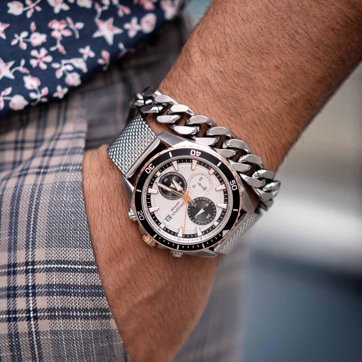 stalen band horloge heren prisma master rose goud