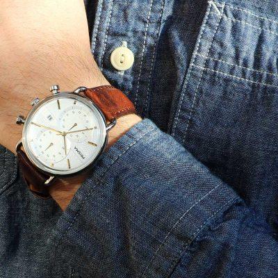 Chronograaf horloge leren band chronograph watch leather strap