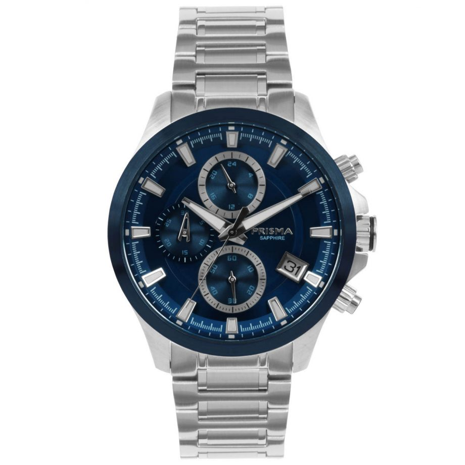 Blue chronograph men watch stainless steel strap silver blue dial 10 ATM sapphire glass
