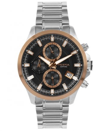 Rosegold black chronograph watch men stainless steel strap date sapphire glass 10 ATM