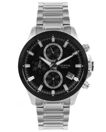 Chronograph men watch black dial silver strap Prisma sapphire glass 10 ATM