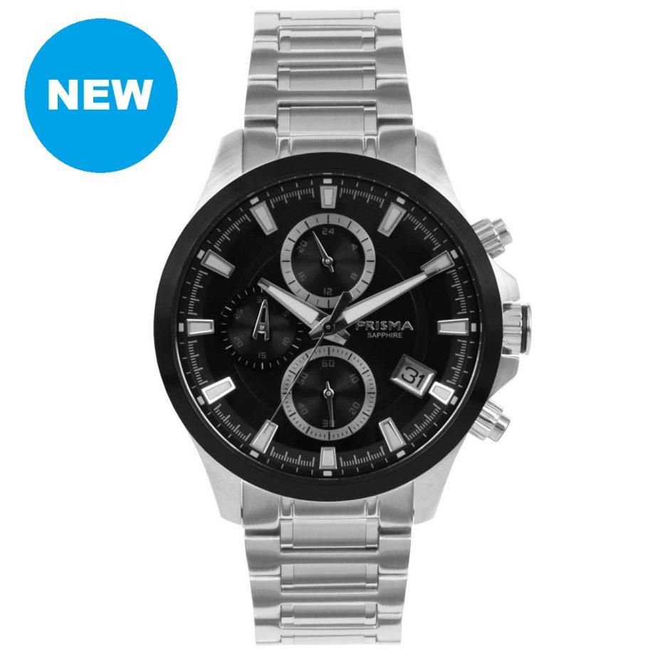 Prisma triton 1330 zwart chronograaf horloge heren black men watch chronograph