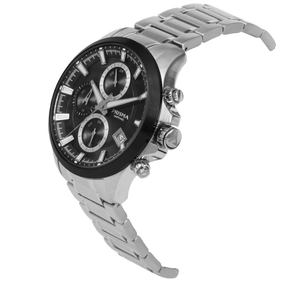 Prisma tribon 1330 Black chronograph side Zwarte chronograaf zijkant