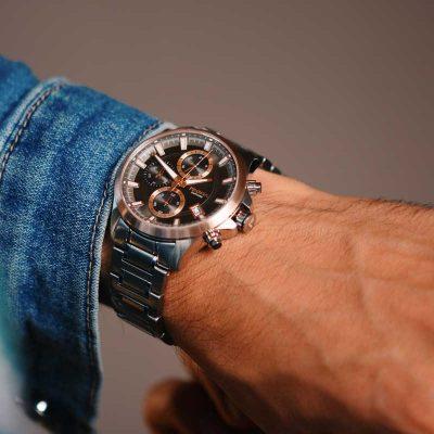 rosegold chronograph watch men rosegoud chronograaf horloge heren triton prisma 1332
