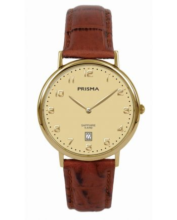 Gold coloured stylish men watch Prisma 1001 date function sapphire