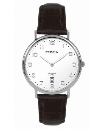 Leather band stylish watch white dial men Prisma 1002 date sapphire glass