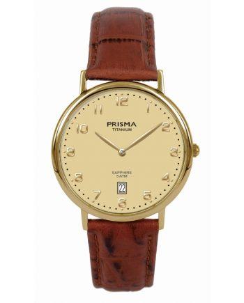 Titanium horloge heren Bruine band en goudkleurige wijzerplaat Prisma 1005 datum saffierglas