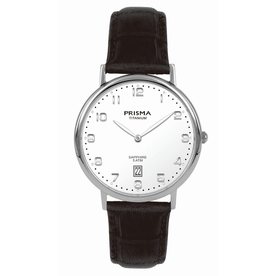 Stylish men watch leather strap brown white dial titanium date sapphire Prisma 1006