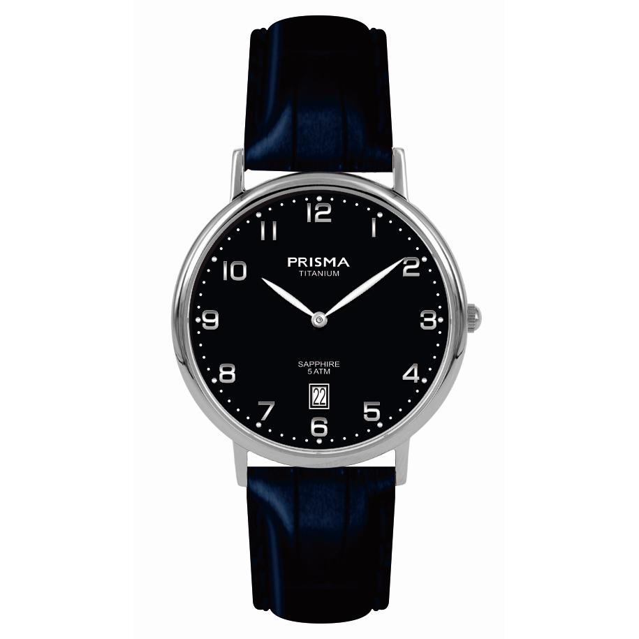 Klassiek blauw heren horloge titanium Prisma 1007 datum saffierglas 5 ATM