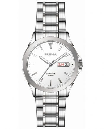Sportive men watch silver strap white dial date sapphire glass 10 ATM waterproof Prisma 1180