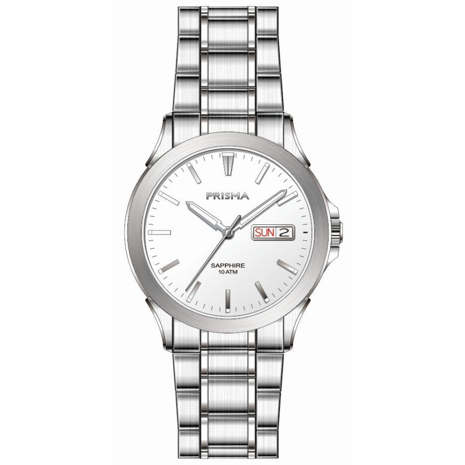 Sportive men watch silver strap white dial date sapphire glass 10 ATM waterproof Prisma 1180
