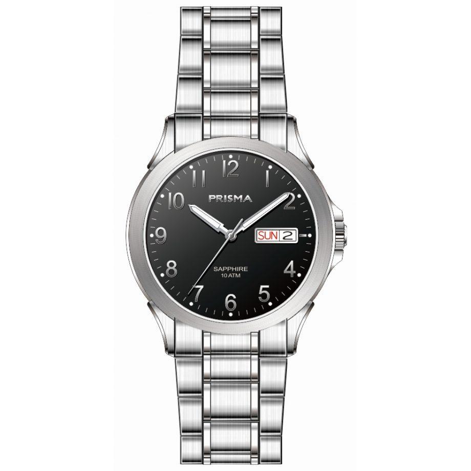 Bold sportive men watch black dial steel strap date function 10 ATM sapphire glass Prisma 1183