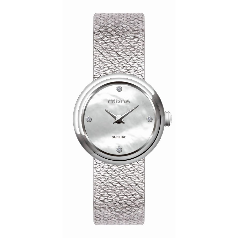 Silver coloured ladies watch mother of pearl diamonds dial stainless steel strap Prisma women 1347