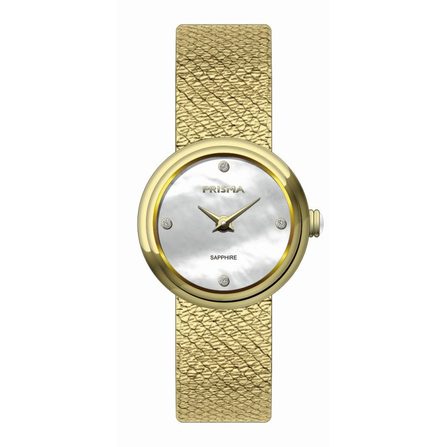 Mother of pearl dial diamonds gold steel strap band women watch ladies Prisma 1348