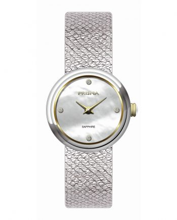 Silver coloured ladies watch bicolor mother of pearl dial diamonds stainless steel mesh strap 1347 Prisma