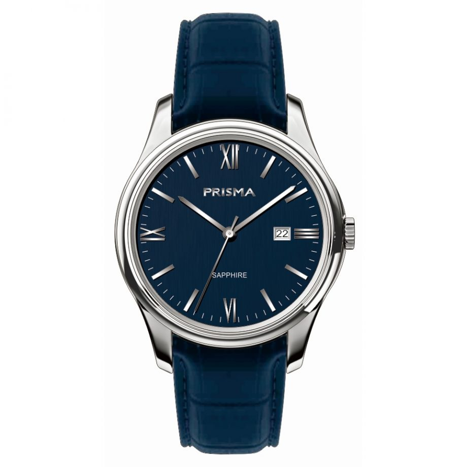 Blue men watch classic dutch design quality Date sapphire glass