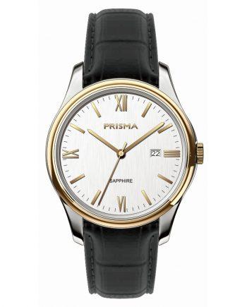 Bruin leren band heren horloge Prisma 2018 Klassiek datum saffierglas 10 ATM