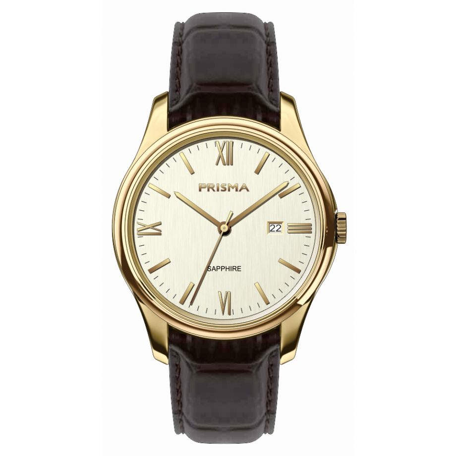 High quality classic men watch gold and leather strap dutch design