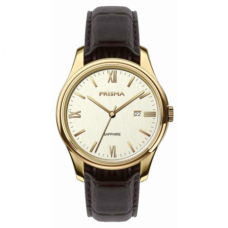 Prisma Horloge bruine band goud kleurig heren 2019 saffierglas datum