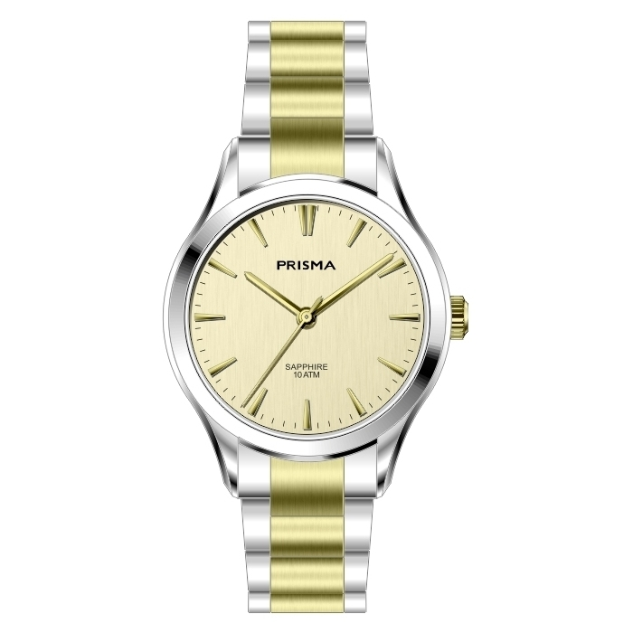 Bicolor steel strap watch ladies gold dial sapphire glass 10 ATM waterproof Prisma 2011 women