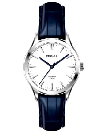BLue leather strap white dial women watch classic minimalistic design Prisma 2012