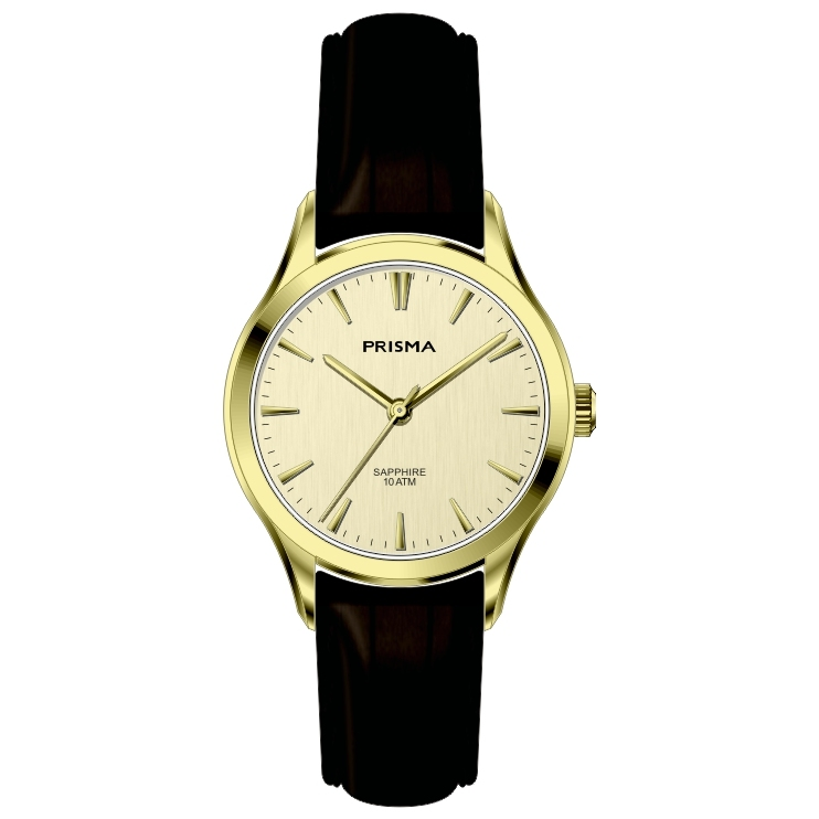 Leather strap watch women gold coloured dial sapphire glass 10 ATM