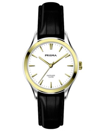 Classic women watch leather strap bicolor white dial lady stylish Prisma 2014
