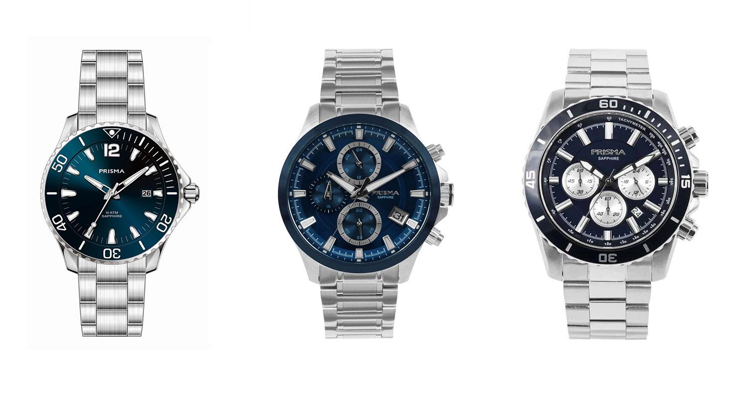 Horloge blauw zilver heren Watch blue silver men